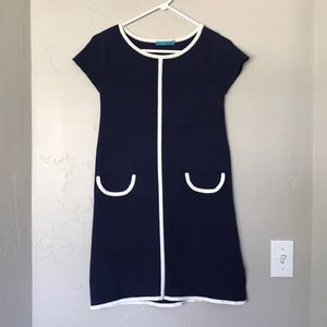 Alice + Olivia Navy Blue White Trim Mini Dress